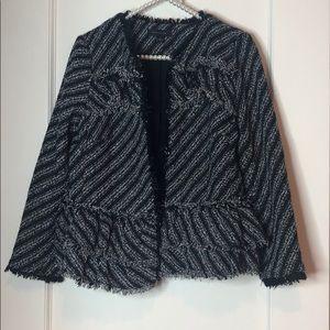 Ann Taylor Fringe Striped White and Black Blazer